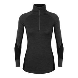Icebreaker BodyFitZone™ Merino 260 Zone Half Zip Langarmshirt Damen jet heather / black