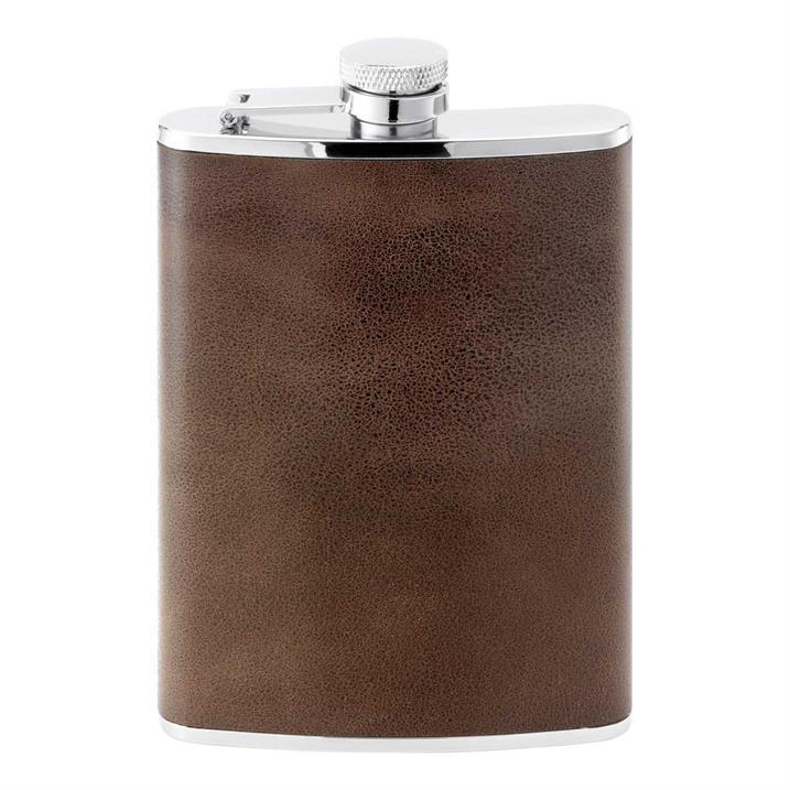 Herbertz Taschenflasche, Edelstahl, Leder, 230 ml