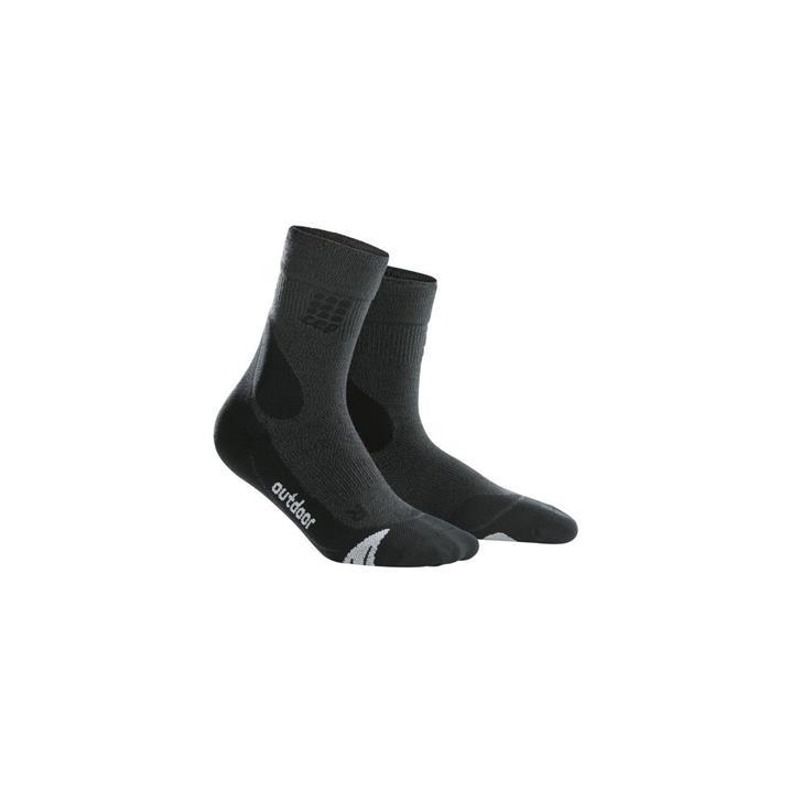 CEP Outdoor Merino Mid Cut Socks, Damen - grau, schwarz