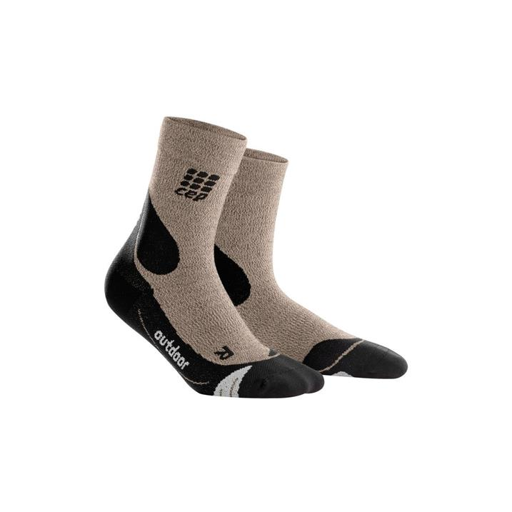 CEP Outdoor Merino Mid Cut Socks - sand dune, black
