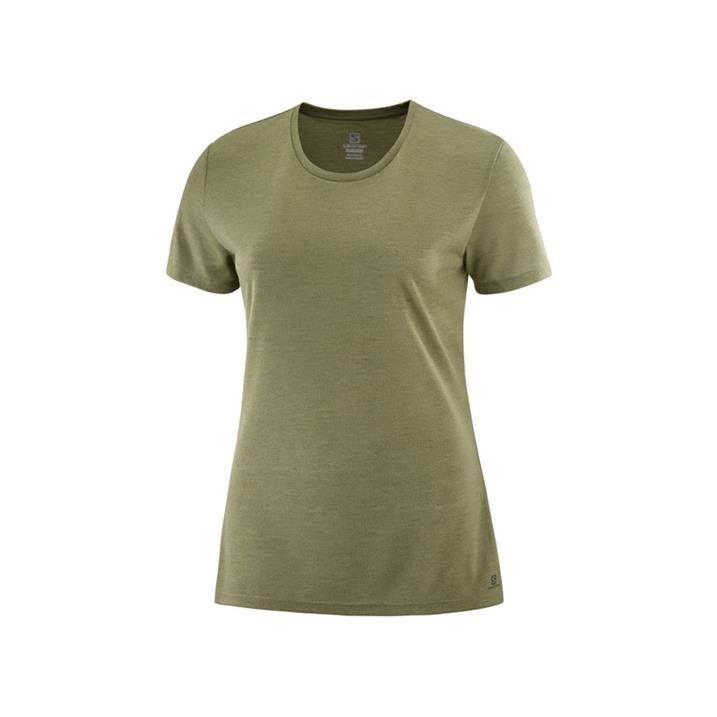 Salomon Comet Short Sleeve Tee martini olive heather Damen T-Shirt