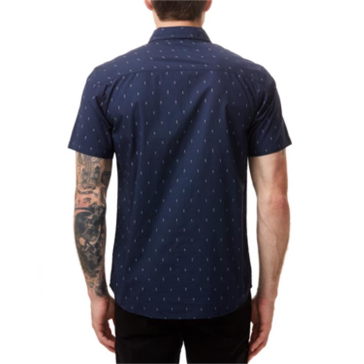 TenTree Cotton Short Sleeve Button Up M dress blue small tree